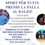 Sport per tutti - prendi la palla al balzo! 21 ottobre 2018